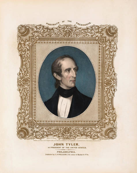 United States Presidents Drawing - President John Tyler - Vintage Color Portrait by War Is Hell Store