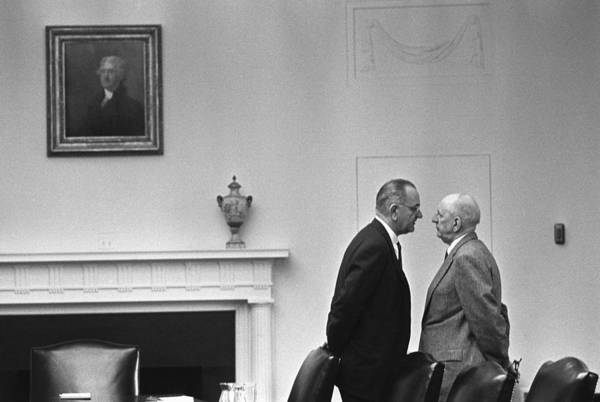 Gesturing Photograph - President Johnson Invading The Space by Everett