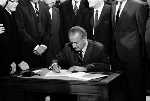 Democratic Party Photograph - President Johnson Signing Civil Rights Bill - 1968 by War Is Hell Store