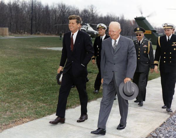 Wall Art - Photograph - President Kennedy And Dwight Eisenhower - Camp David - 1961 by War Is Hell Store