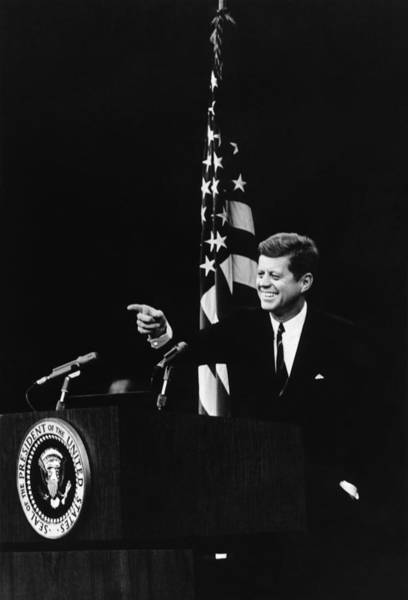 Democratic Party Photograph - President Kennedy At Press Conference - 1962 by War Is Hell Store