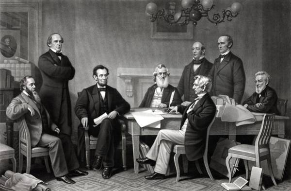 The Great Emancipator Drawing - President Lincoln And His Cabinet by War Is Hell Store