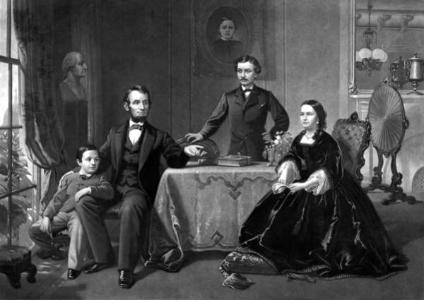 American History Drawing - President Lincoln And His Family  by War Is Hell Store