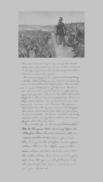 Gettysburg Address Wall Art - Mixed Media - President Lincoln And The Gettysburg Address by War Is Hell Store