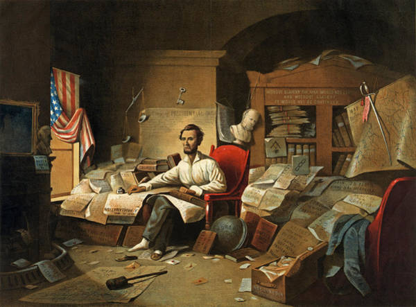 David Gilmour Painting - President Lincoln Writing The Proclamation Of Freedom. January 1st 1863  by David Gilmour Blythe