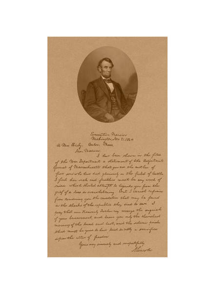 The Mixed Media - President Lincoln's Letter To Mrs. Bixby by War Is Hell Store
