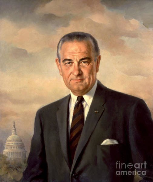 Painting - President Lyndon Baines Johnson by Celestial Images