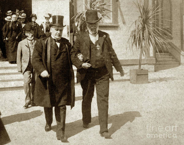 Photograph - President Mckinley Leaving The Old Methodist Church On Lighthous by California Views Archives Mr Pat Hathaway Archives