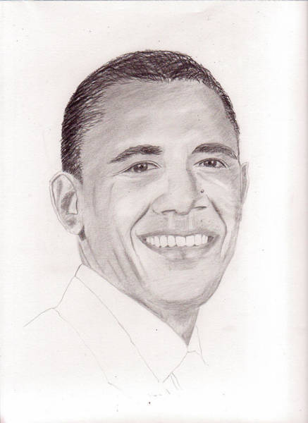 Drawing - President Obama by Pat Moore