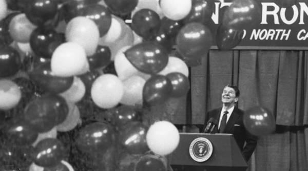 Gop Photograph - President Reagan And Balloons by Matt Plyler