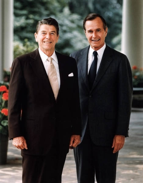 Republican Photograph - President Reagan And George H.w. Bush - Official Portrait  by War Is Hell Store