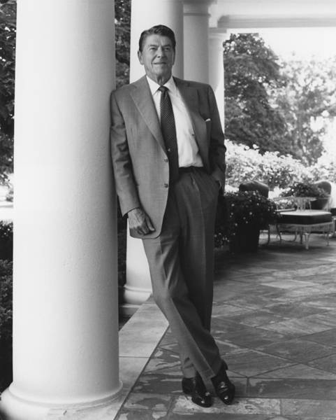 President Photograph - President Reagan Outside The White House by War Is Hell Store