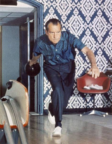 Inauguration Painting - President Richard Nixon Bowling At The White House In 1970 by Celestial Images