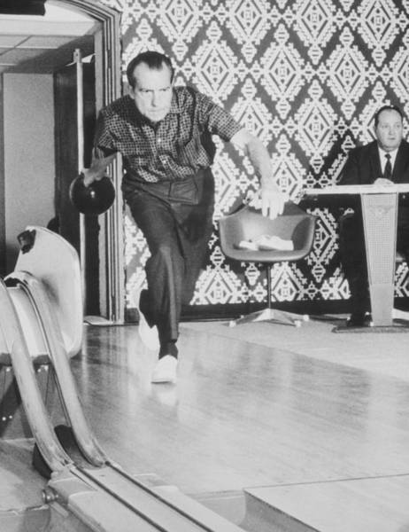 Bowling Ball Wall Art - Photograph - President Richard Nixon Bowling At The White House by War Is Hell Store
