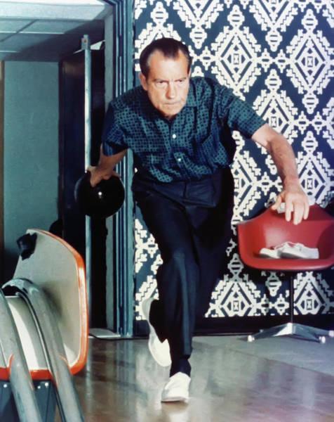 Wall Art - Photograph - President Richard Nixon Bowling by Digital Reproductions