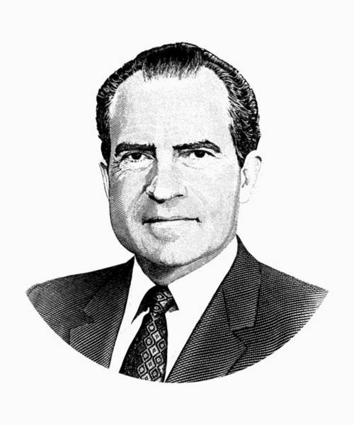 Richard Digital Art - President Richard Nixon Graphic Black And White by War Is Hell Store