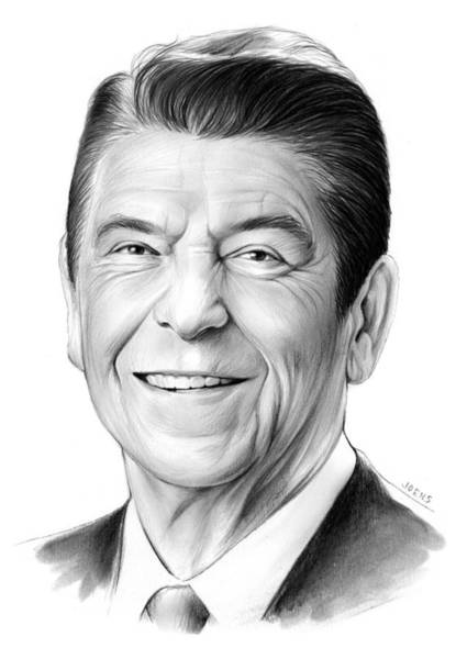 White Drawing - President Ronald Reagan by Greg Joens