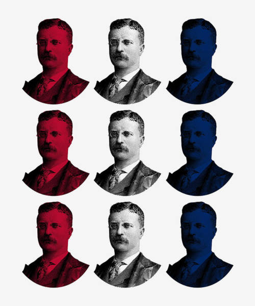 Wall Art - Digital Art - President Teddy Roosevelt - Red, White, And Blue by War Is Hell Store