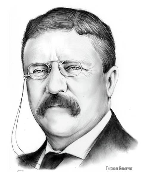 Wall Art - Drawing - President Theodore Roosevelt 2 by Greg Joens