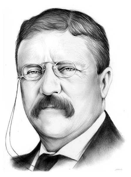Wall Art - Drawing - President Theodore Roosevelt by Greg Joens