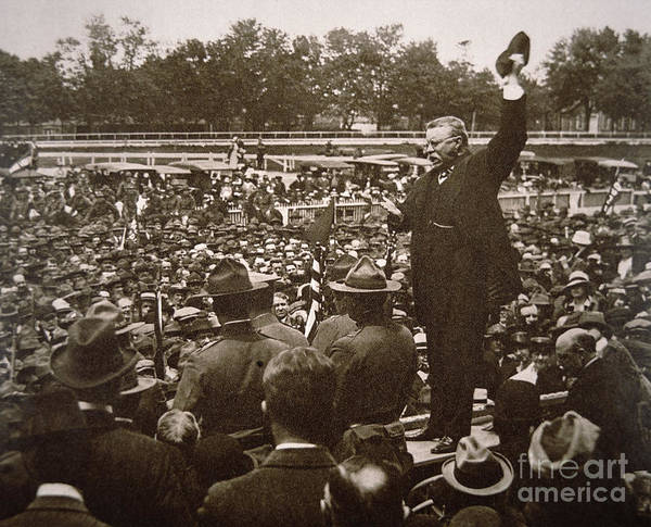 Addressing Photograph - President Theodore Roosevelt Speaking At A Recruiting Rally In June 1917 by American School