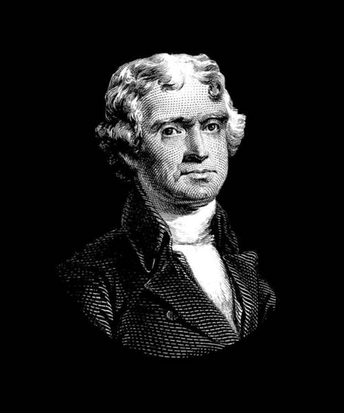 Declaration Of Independence Digital Art - President Thomas Jefferson - Black And White by War Is Hell Store