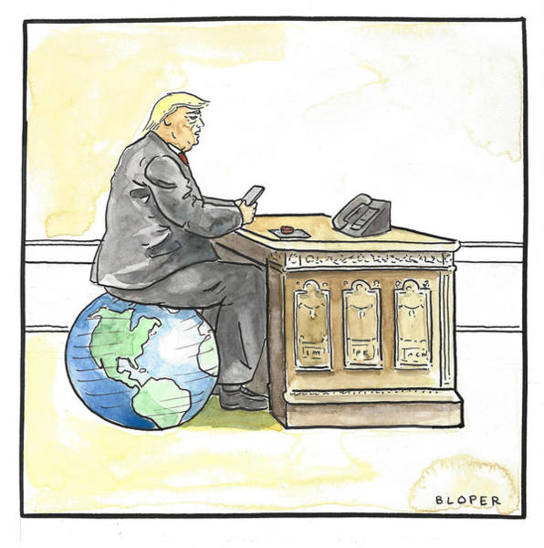 Yoga Drawing - President Trump In The Seat Of Power by Brendan Loper