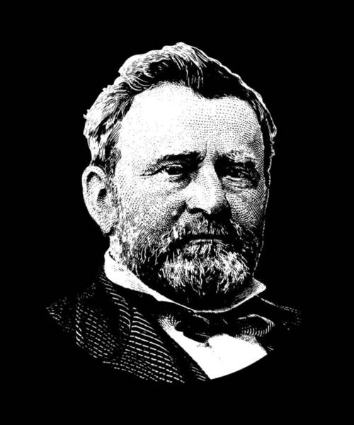 Wall Art - Digital Art - President Ulysses Grant Graphic - Black And White by War Is Hell Store