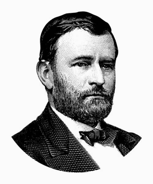 Wall Art - Digital Art - President Ulysses S. Grant Graphic White 2 by War Is Hell Store