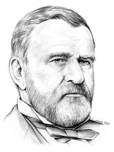 Grant Wall Art - Drawing - President Ulysses S Grant by Greg Joens