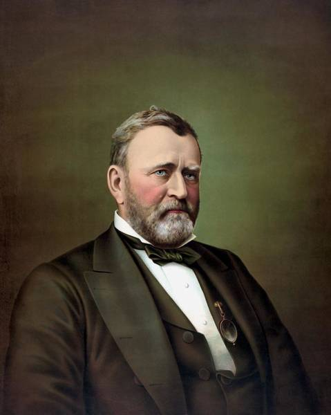 U S Painting - President Ulysses S Grant Portrait by War Is Hell Store