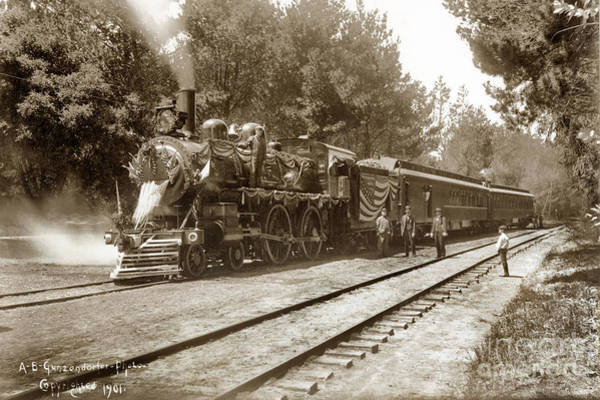 Photograph - President William Mckinleys Presidential Locomotive No. 1456  May 1901 by California Views Archives Mr Pat Hathaway Archives
