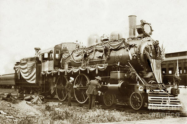 Photograph - President William Mckinleys Presidential Locomotive No. 1456 Circa 1901 by California Views Archives Mr Pat Hathaway Archives