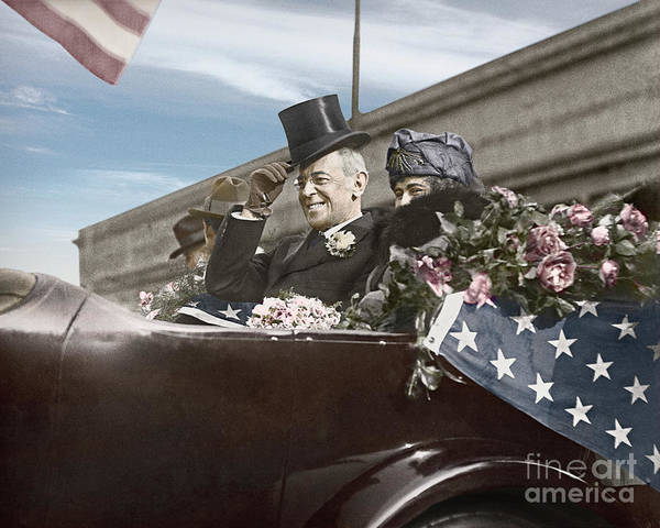 Photograph - President Woodrow Wilson 1919 Color by Martin Konopacki