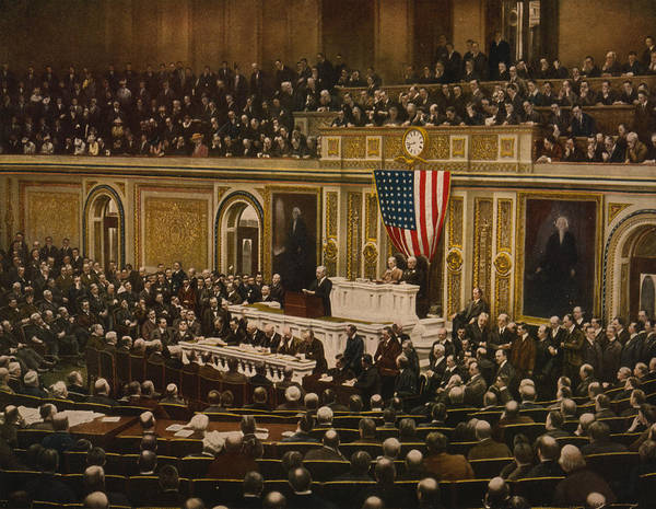 Congress Painting - President Woodrow Wilson Asking Congress To Declare War On Germany, 2 April 1917 by Unknown artist