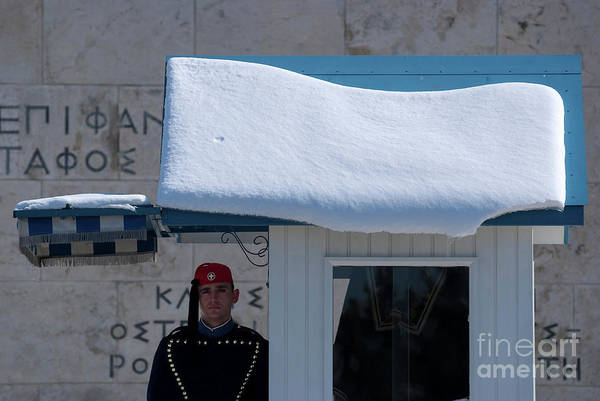 Sentry Box Photograph - Presidential Guard With Snow by George Atsametakis
