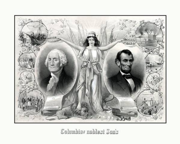 Us Civil War Wall Art - Drawing - Presidents Washington And Lincoln by War Is Hell Store