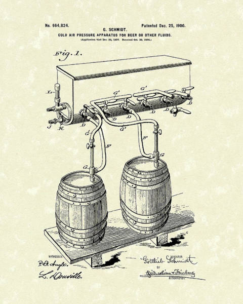 1900 Wall Art - Drawing - Pressure System 1900 Patent Art  by Prior Art Design