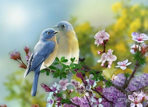 Mixed Media - Pretty Blue Birds by Morag Bates