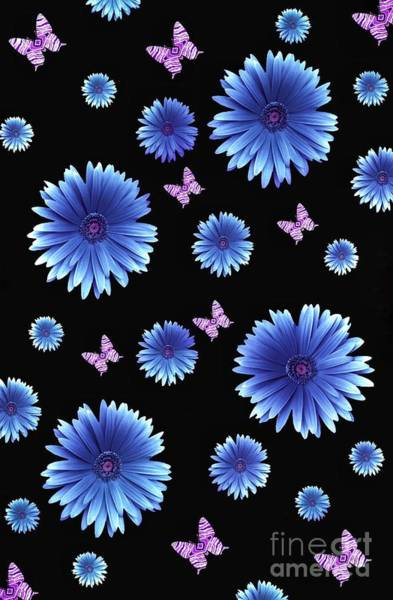 Digital Art - Pretty Blue Flowers On Black by Rachel Hannah