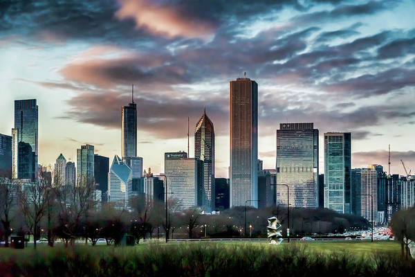 Photograph - Pretty Clouds Over Chicago Skyline by Sven Brogren