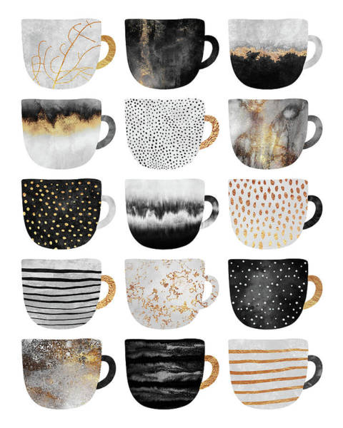 Cup Digital Art - Pretty Coffee Cups 4 by Elisabeth Fredriksson