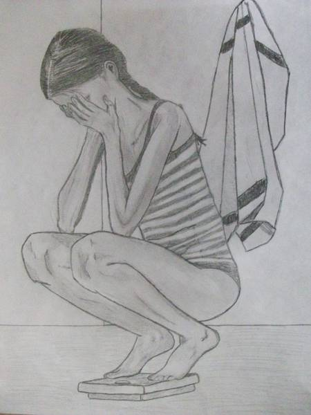 Anorexia Drawing - Pretty Enough by Katie-Marie OConnor