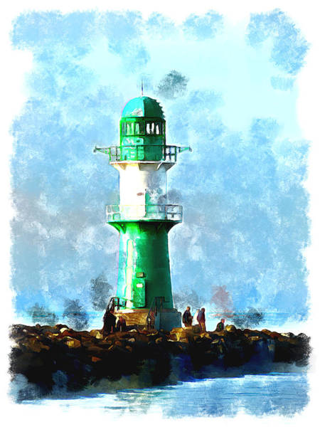 Baltic Sea Painting - Beautiful Lighthouse  by Alexandra Kleist
