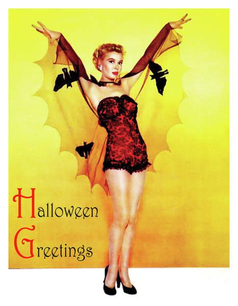 Wall Art - Photograph - Pretty Pin Up Woman Posing In Halloween Bat Costume by Long Shot