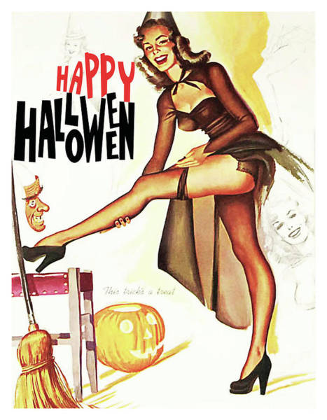 Pretty Mixed Media - Pretty Pin Up Woman Showing Her Legs In Halloween Costume by Long Shot