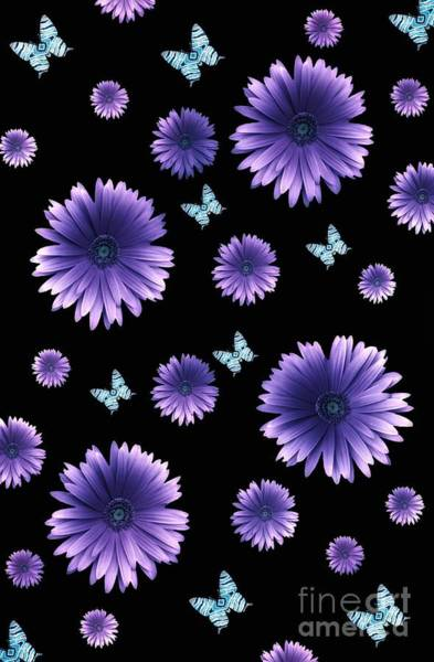 Digital Art - Pretty Purple Flowers On Black by Rachel Hannah