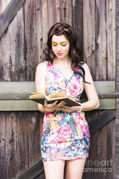 Farmyard Photograph - Pretty Young Woman Reading Book by Jorgo Photography - Wall Art Gallery