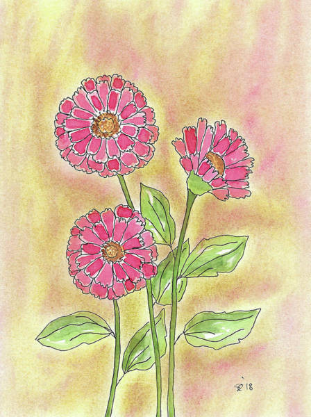 Painting - Pretty Zinnia by Susan Campbell