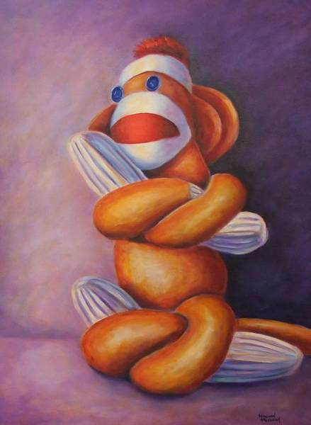 Sock Monkey Painting - Pretzel by Shannon Grissom